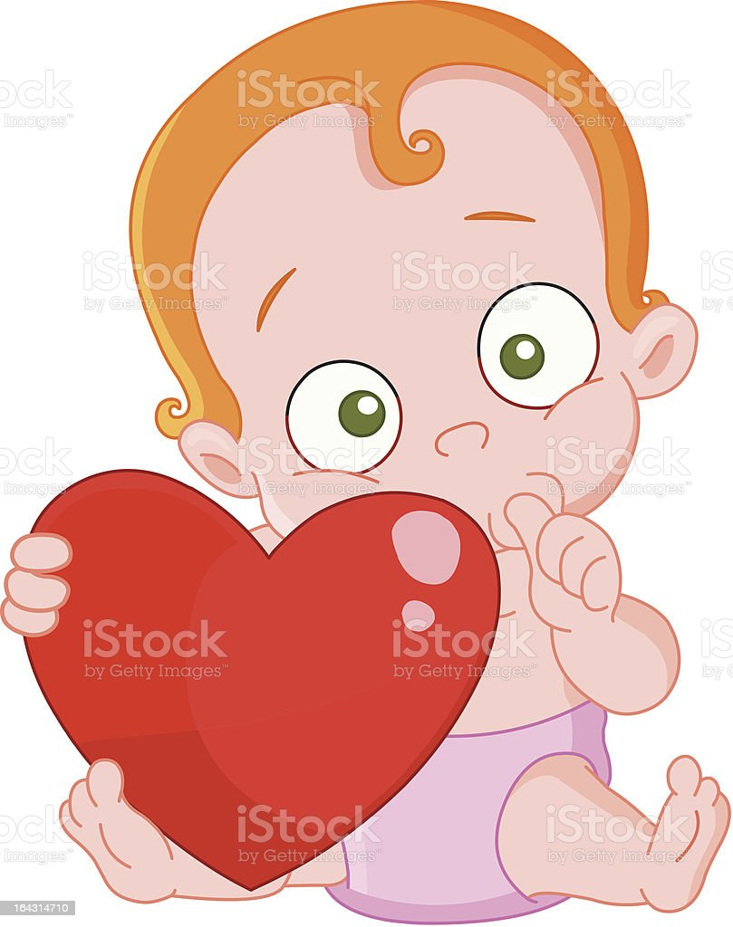 Red hair baby girl valentine royalty-free stock vector art