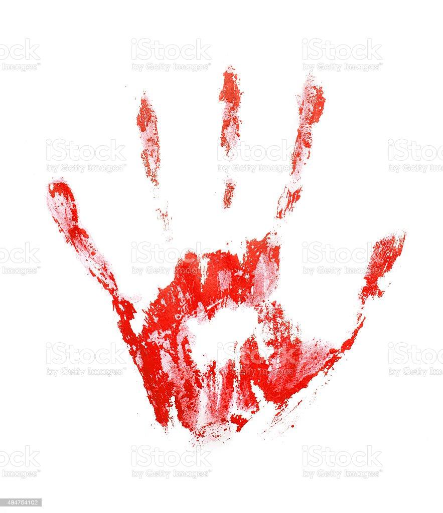 Red hand print vector art illustration