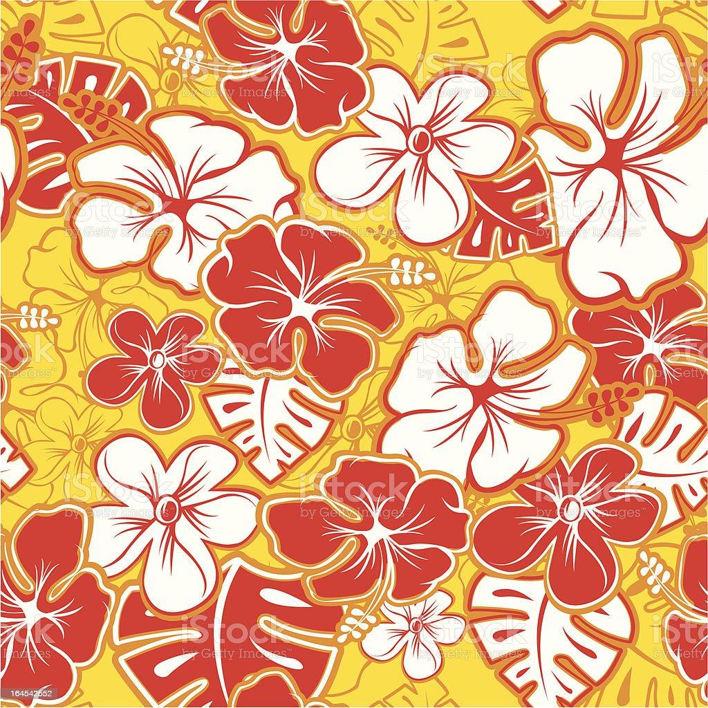 Red Hawaiian Pattern vector art illustration