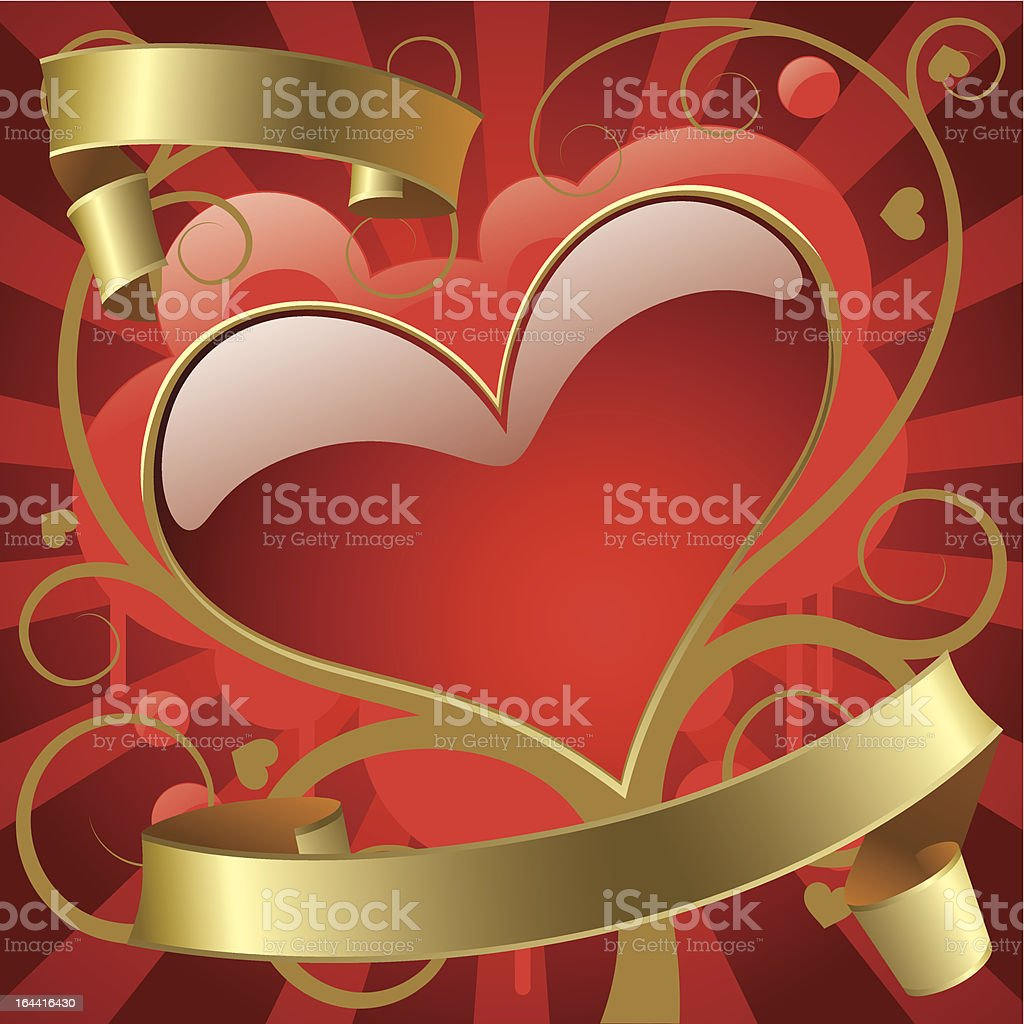 Red heart with gold banners royalty-free stock vector art