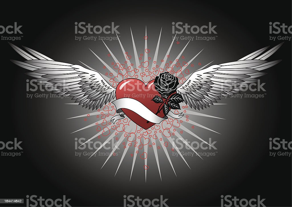 Red heart with wings vector art illustration