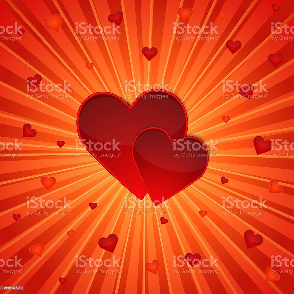 red hearts vector art illustration