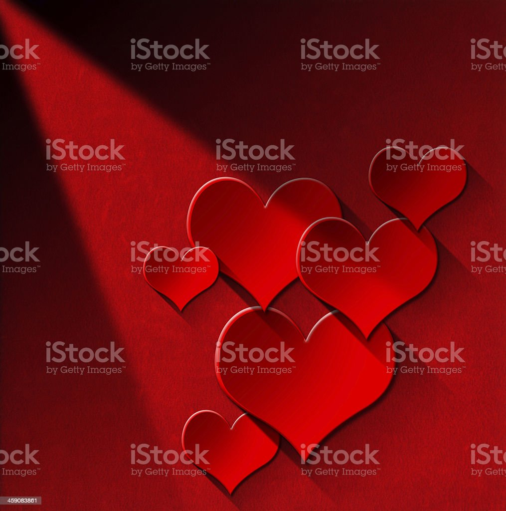 Red Hearts on Velvet Wall vector art illustration