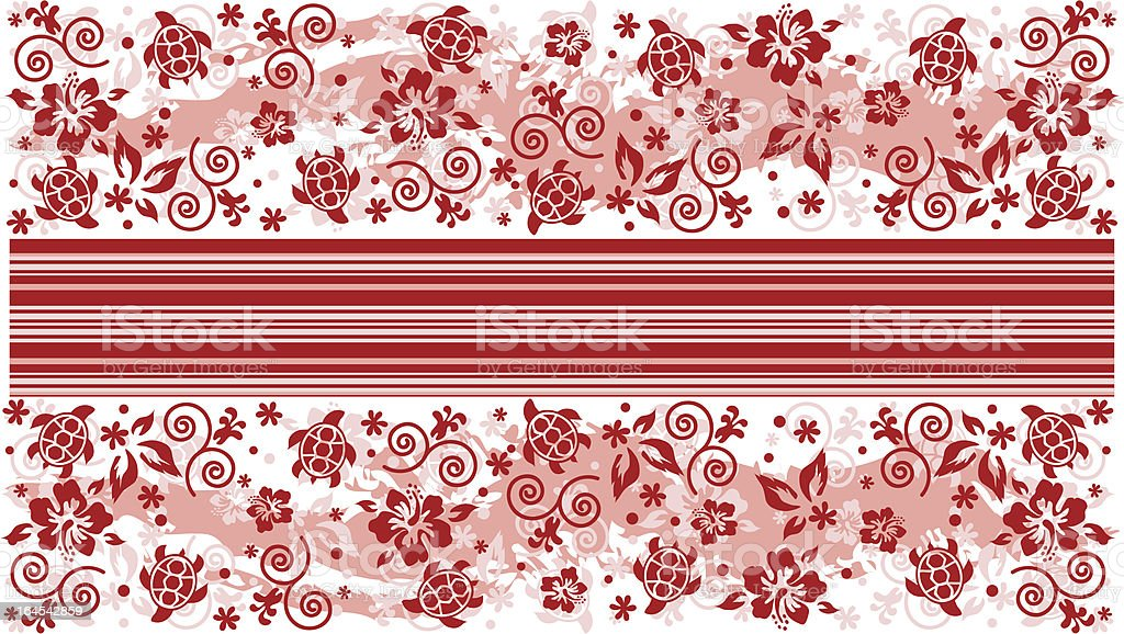 Red hibiscus panel topper vector art illustration