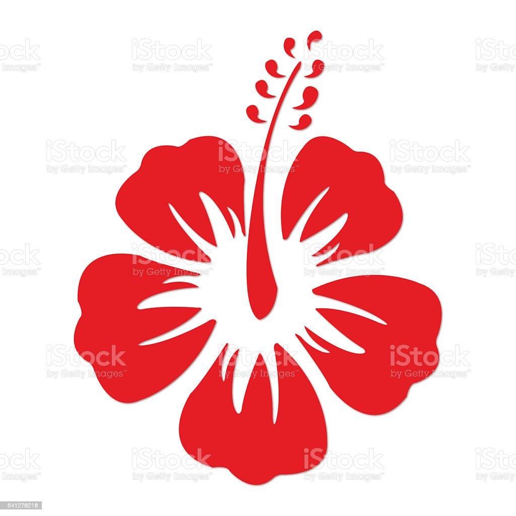 Red Hibuscus vector art illustration