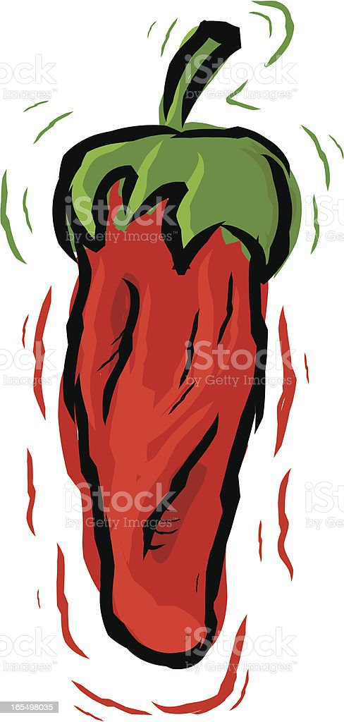 red hot pepper vector art illustration
