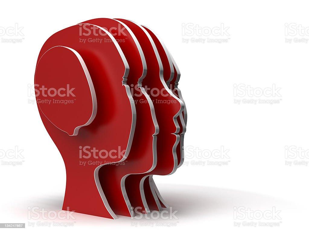 Red Human head silhouettes vector art illustration