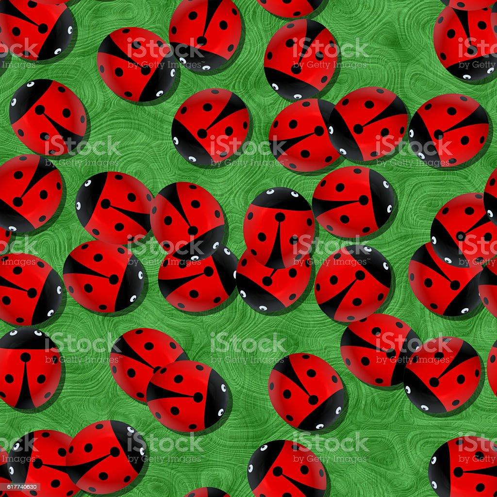 Red ladybugs in the garden, seamless vector art illustration