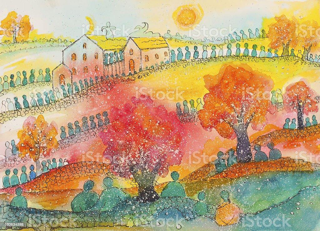 Verde paisaje con Pilgrims rojo illustracion libre de derechos libre de derechos