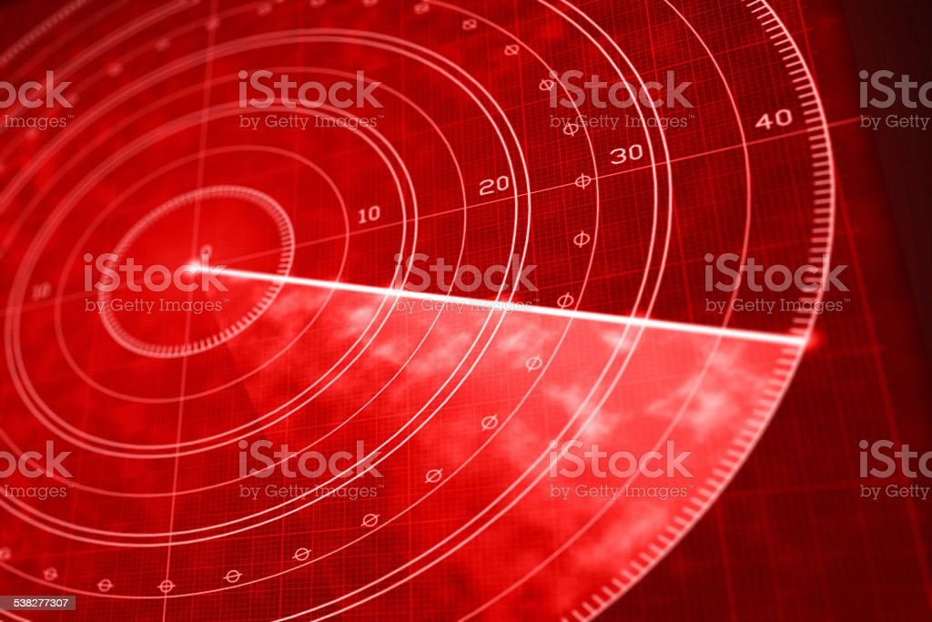 Red military radar screen close up vector art illustration