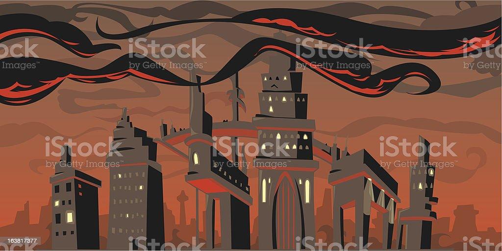 Rouge sombre ville stock vecteur libres de droits libre de droits