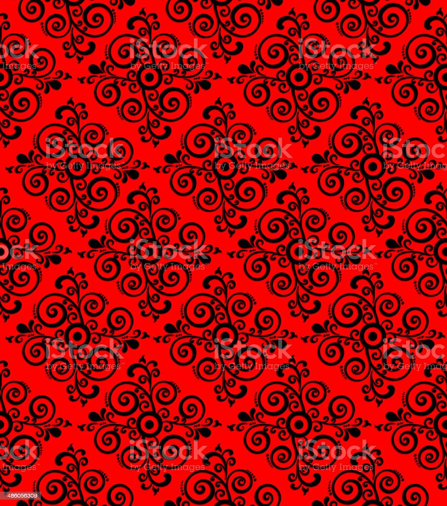 red ornamental pattern, background or texture vector art illustration