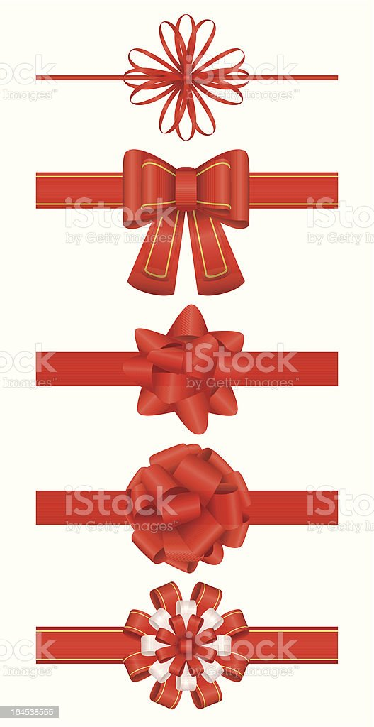 Red package bows vector art illustration