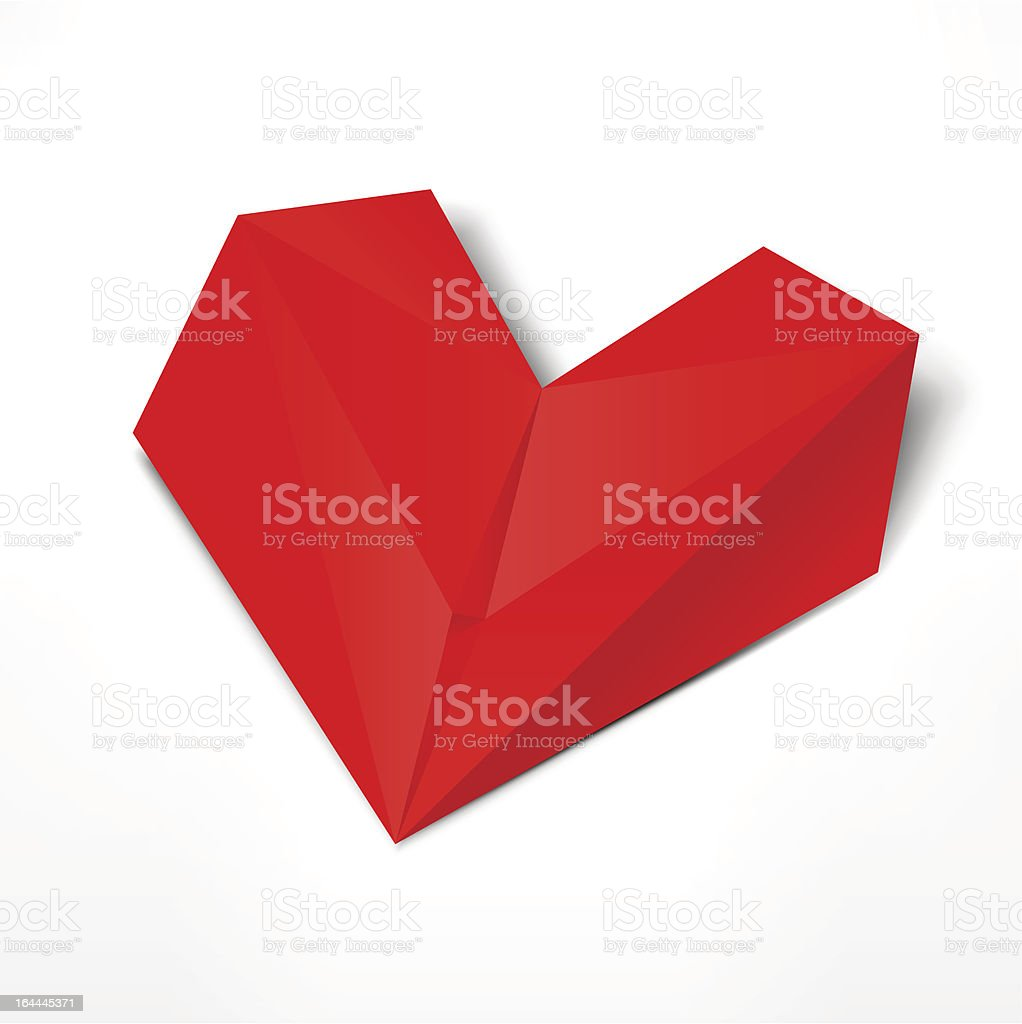 Red paper origami heart with gray shadow on white background royalty-free stock vector art