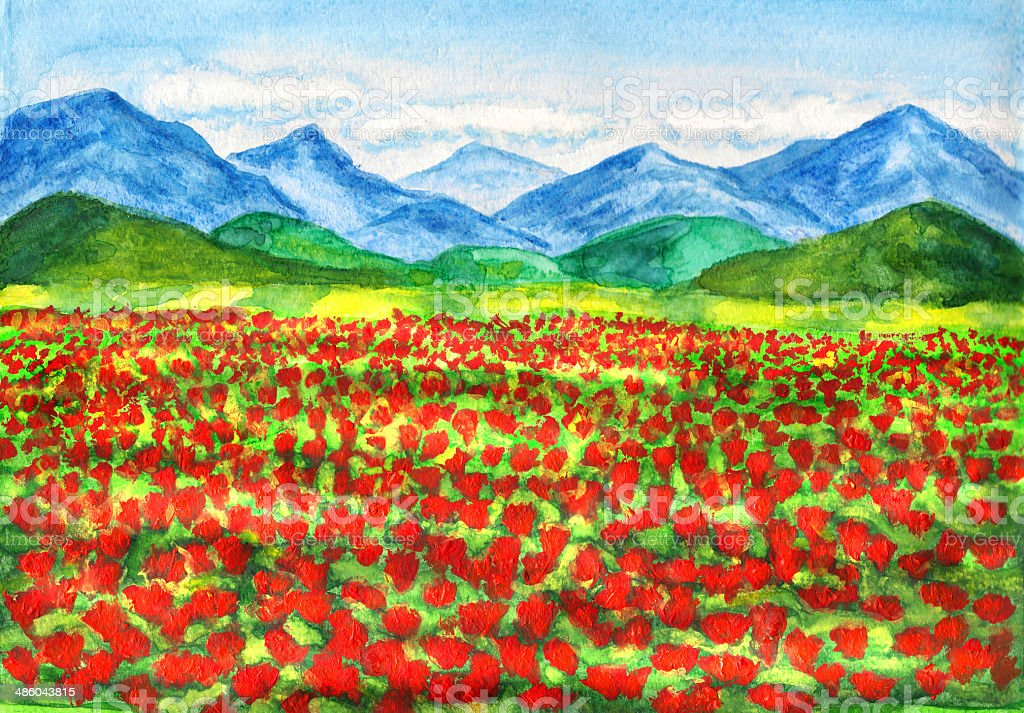 Red poppies meadow, painting vector art illustration