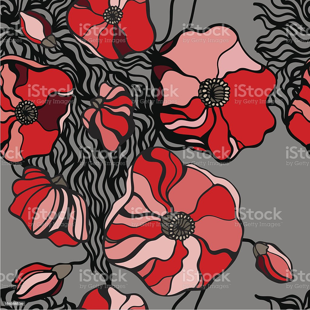 Red poppies on gray background. Seamless pattern royalty-free stock vector art