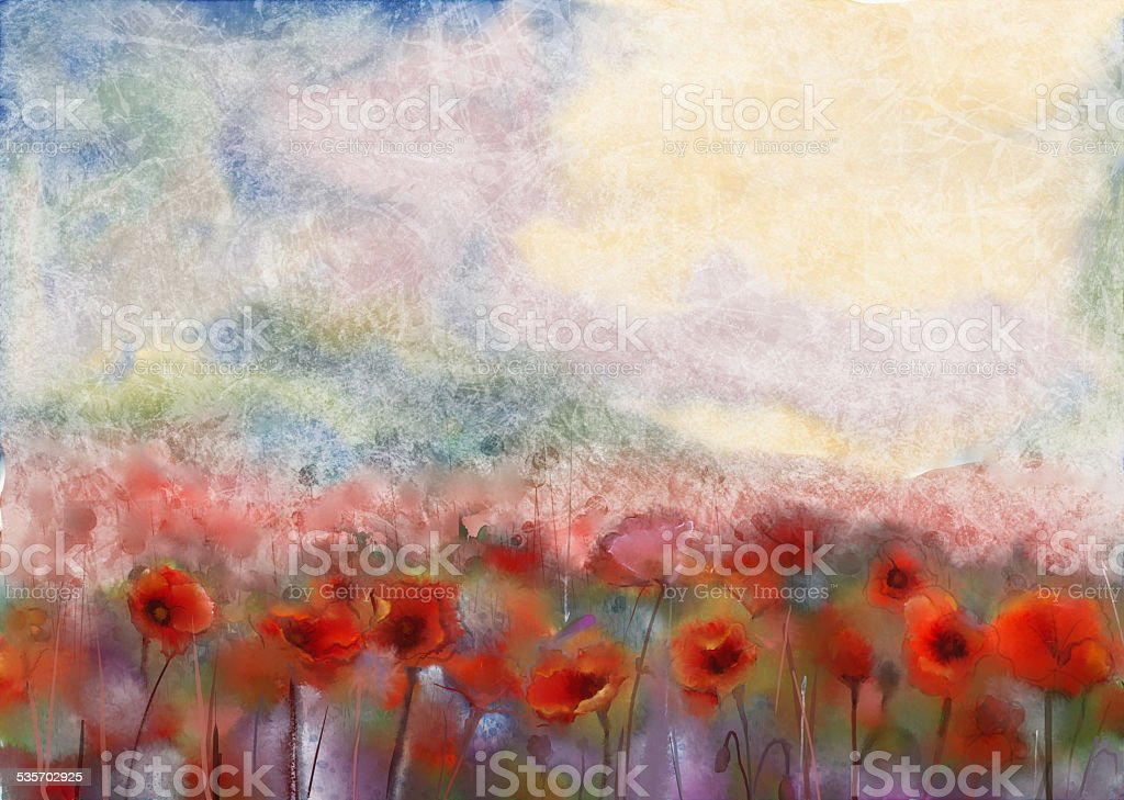 Red poppy flowers filed  watercolor painting vector art illustration