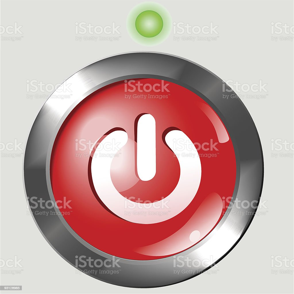 Red Power Button ON Background royalty-free stock vector art