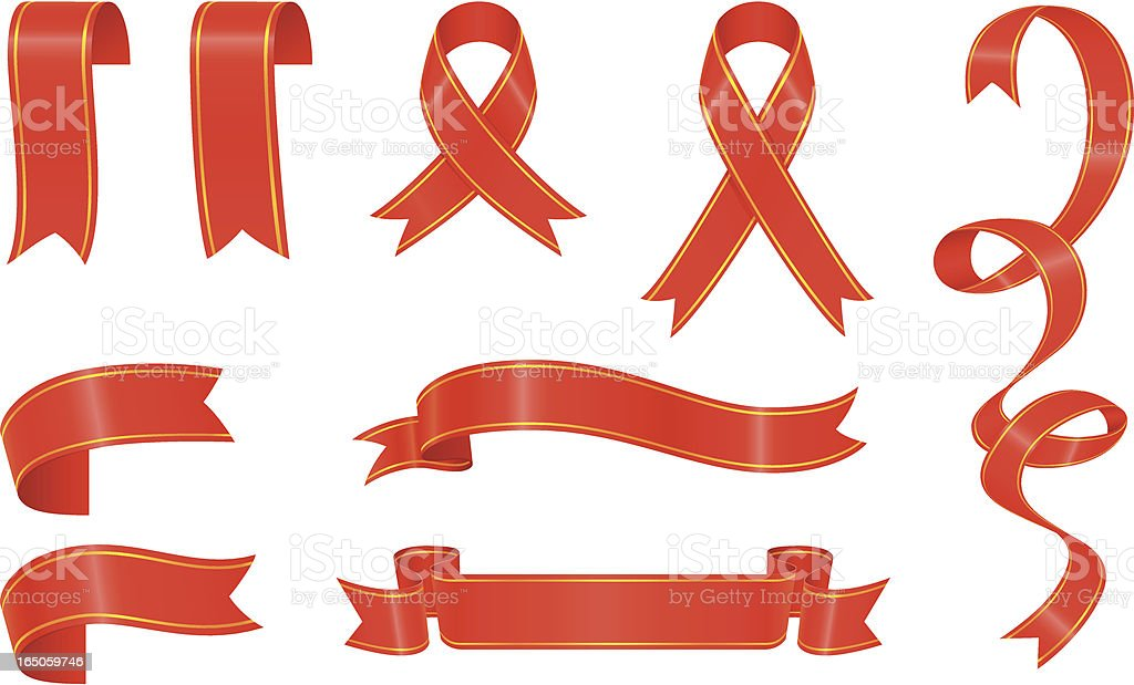 Red ribbons royalty-free stock vector art