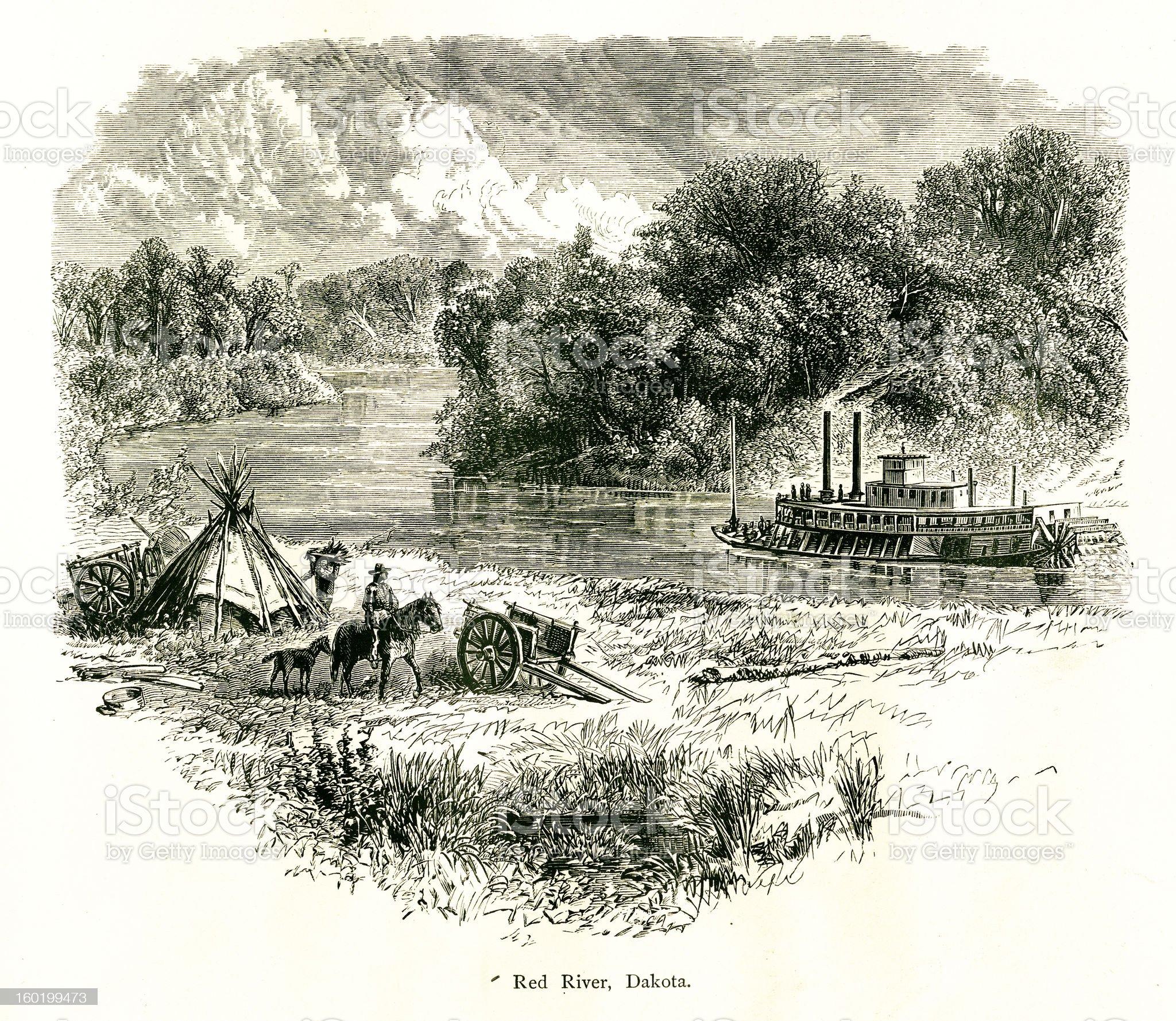 Red River, North Dakota royalty-free stock vector art
