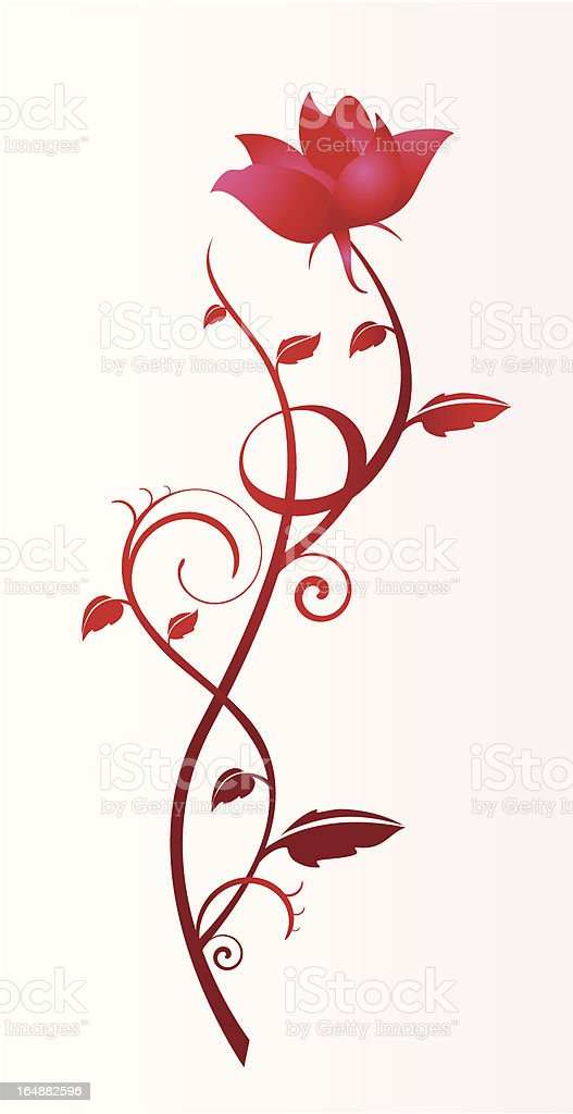 red rose curled royalty-free stock vector art
