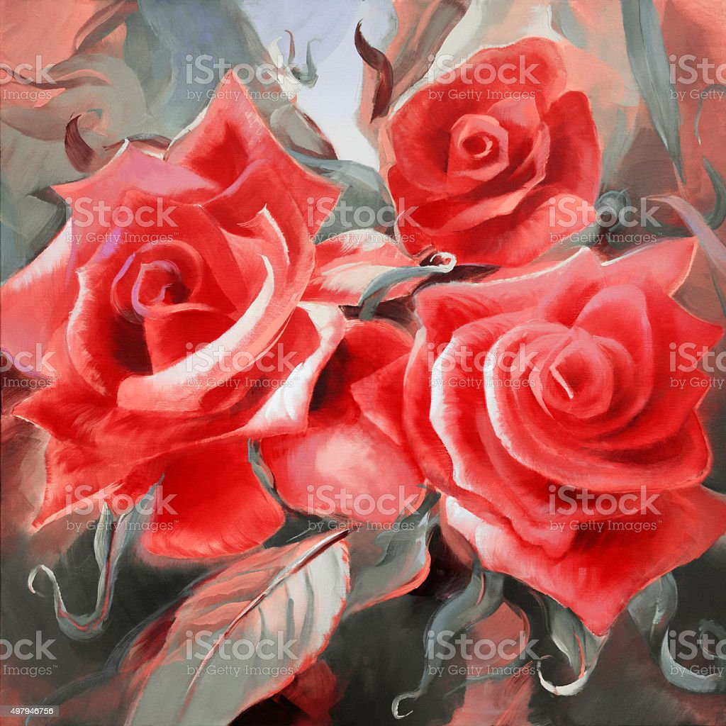 red roses hand painted on canvas stock photo