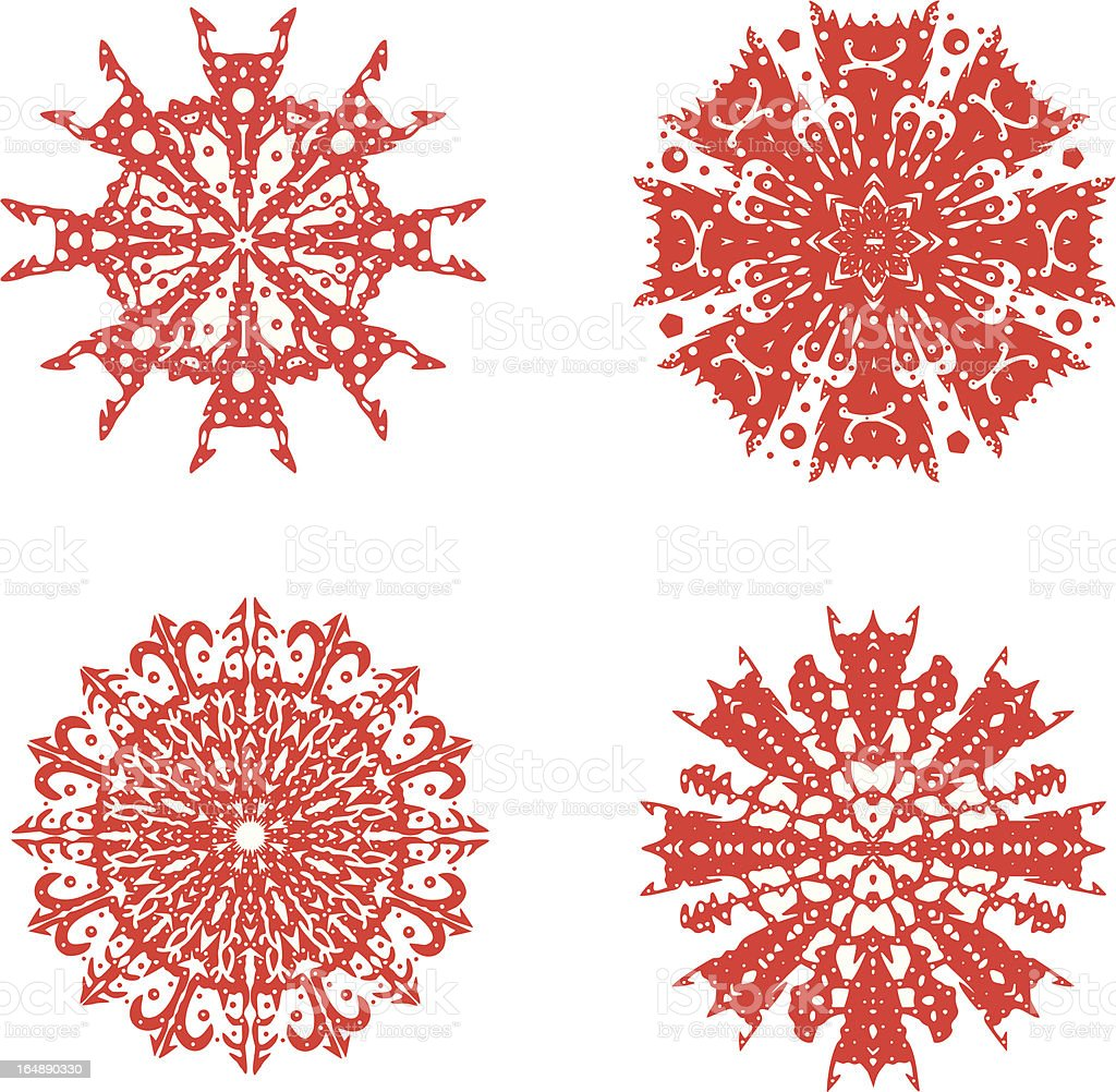 Red snowflakes on a white background. vector art illustration