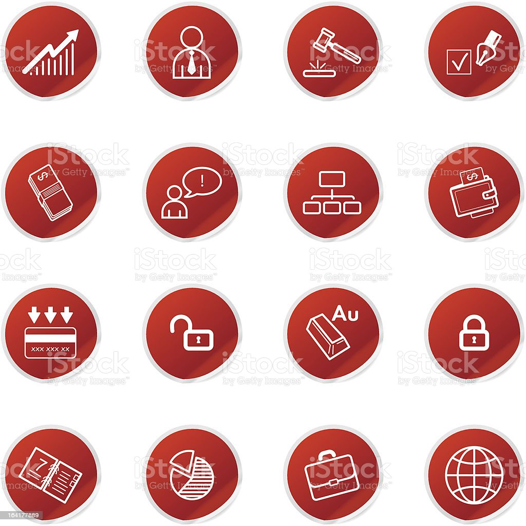 red sticker business icons royalty-free stock vector art