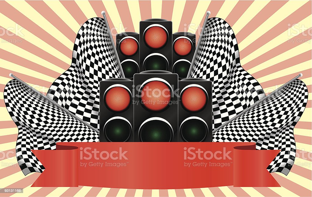Red traffic lights on finish. royalty-free stock vector art