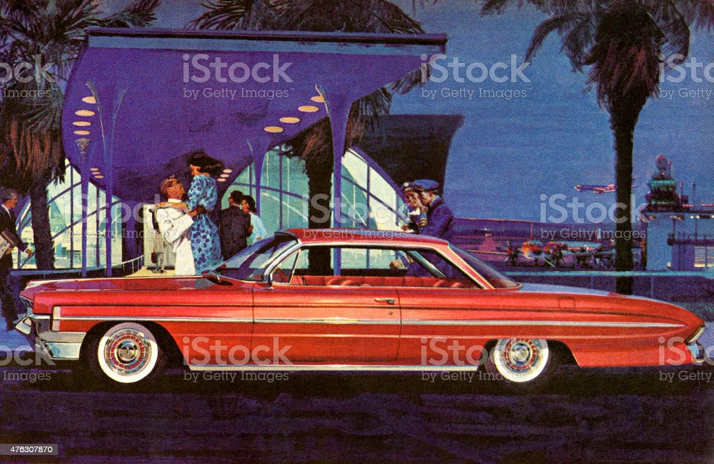 Red Vintage Car in Front of Airport vector art illustration