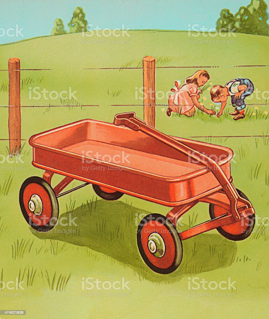 Red Wagon and Children Picking Flowers vector art illustration