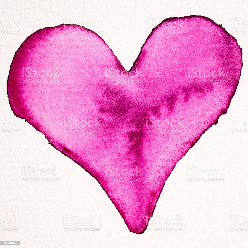 red watercolor heart painting stock photo