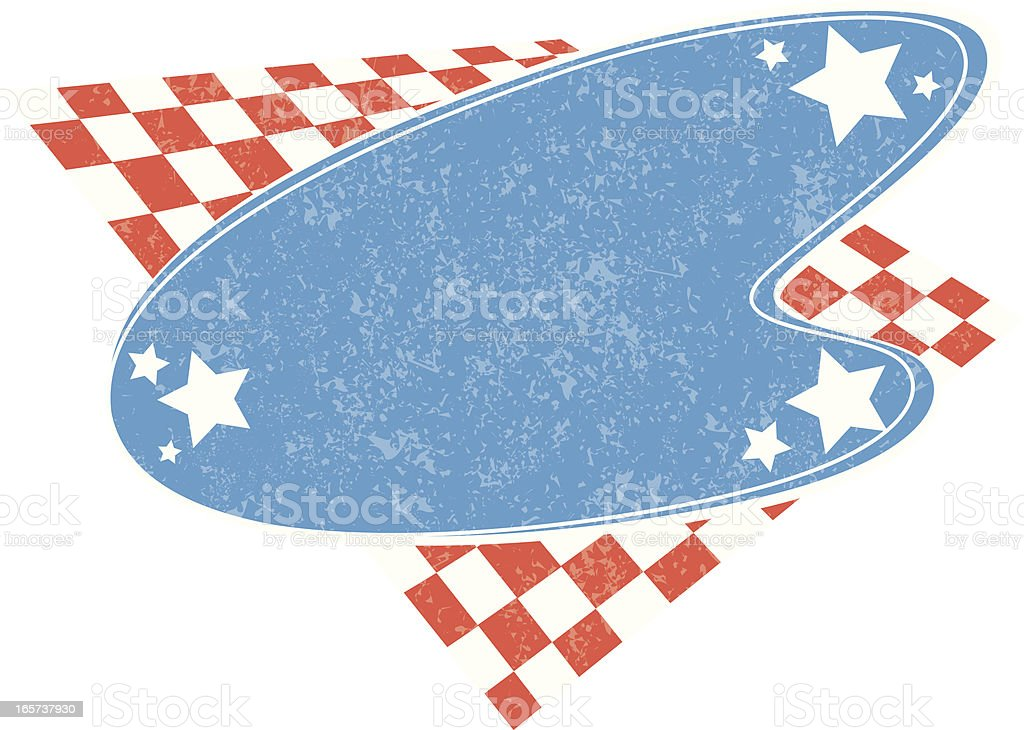 red white and blue retro vector art illustration