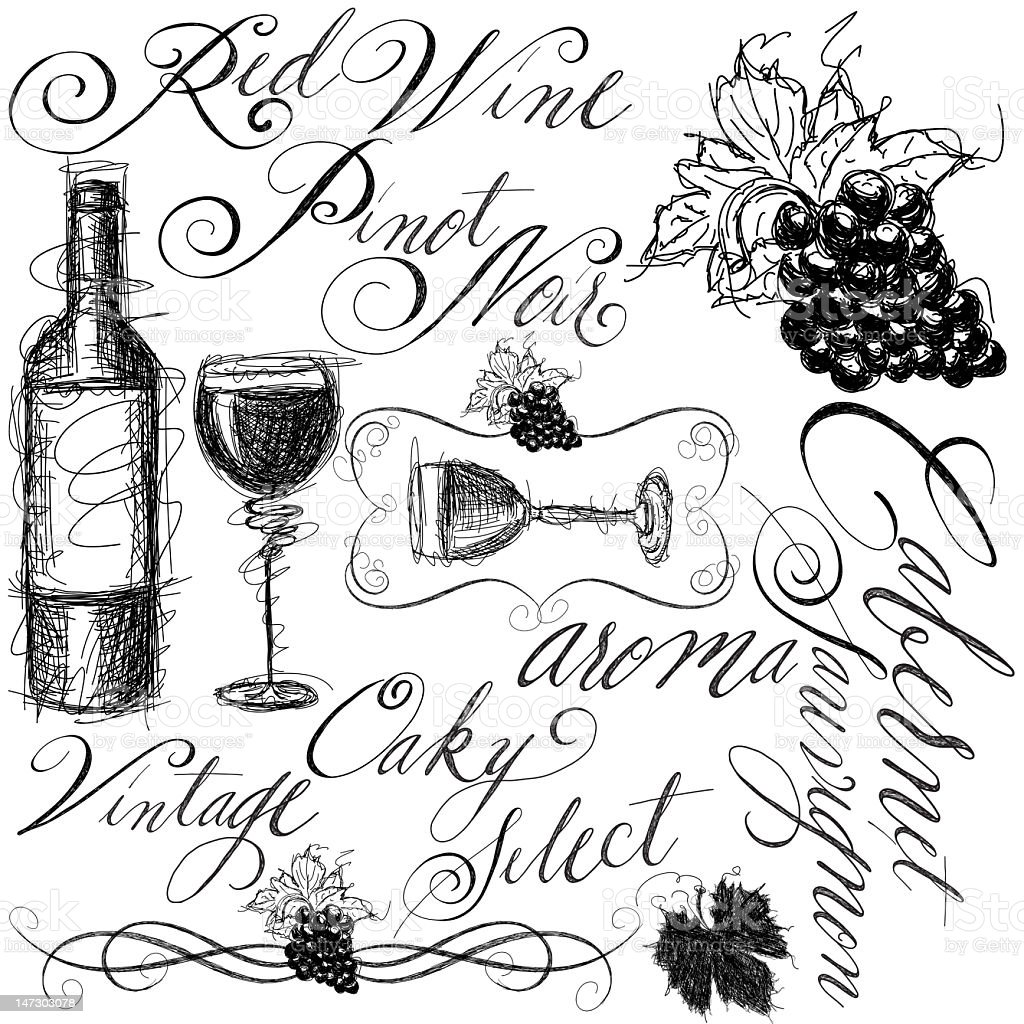 red wine with calligraphy royalty-free stock vector art