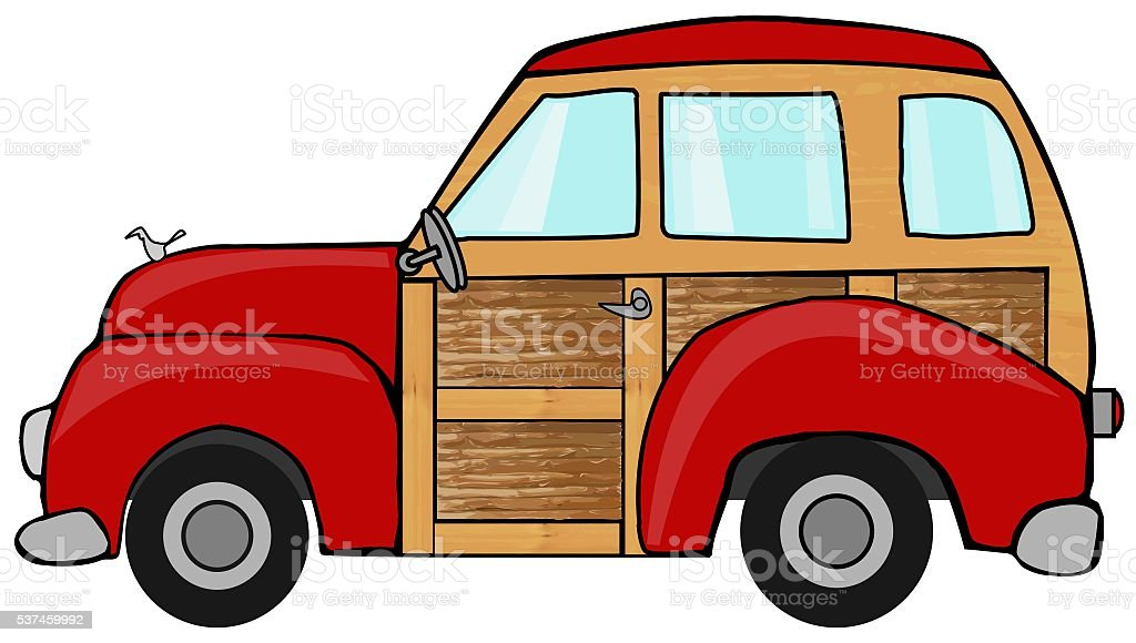 Red woody station wagon vector art illustration