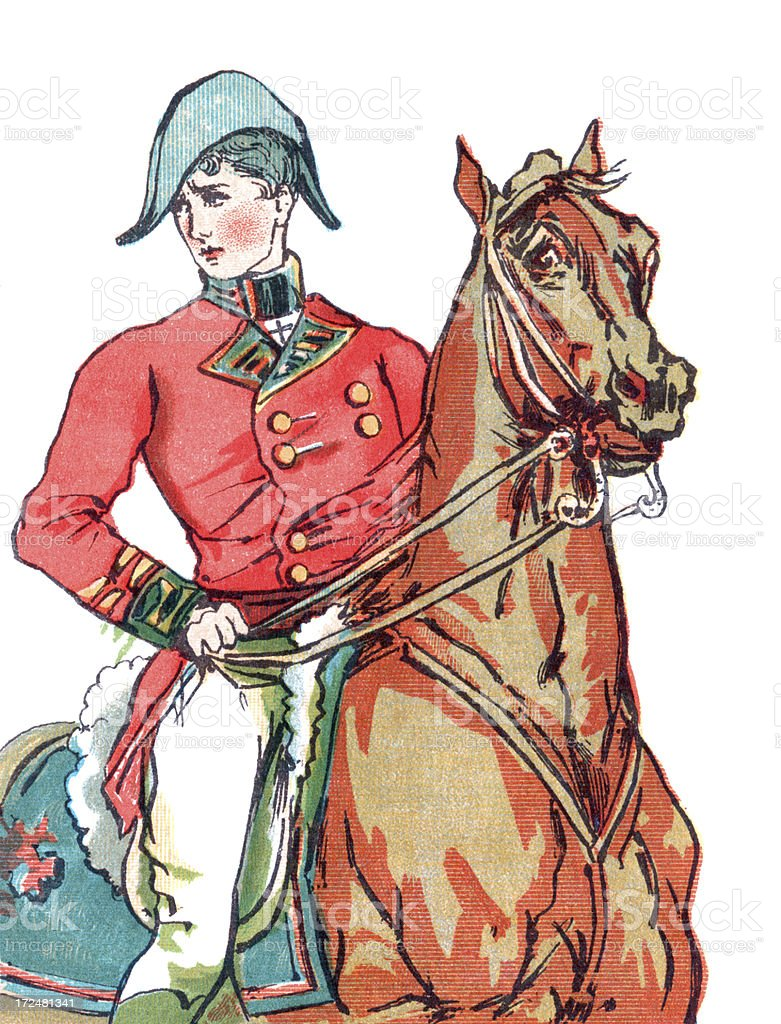 Red-coated soldier on a horse vector art illustration