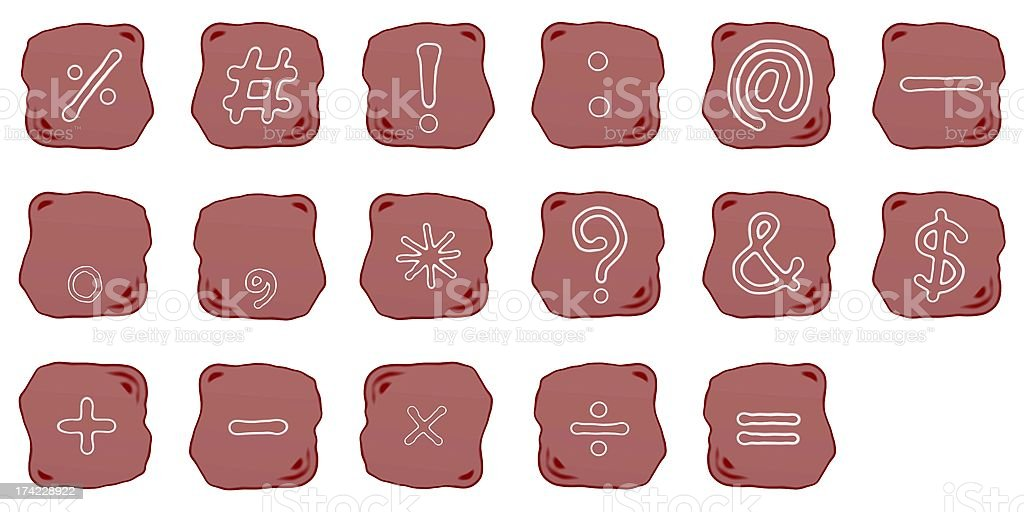 Reddish Brown Stone of Mathematical and Computer Symbol vector art illustration