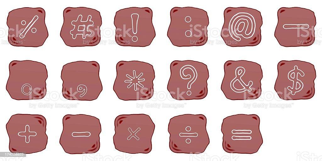 Reddish Brown Stone of Mathematical and Computer Symbol vector art illustration