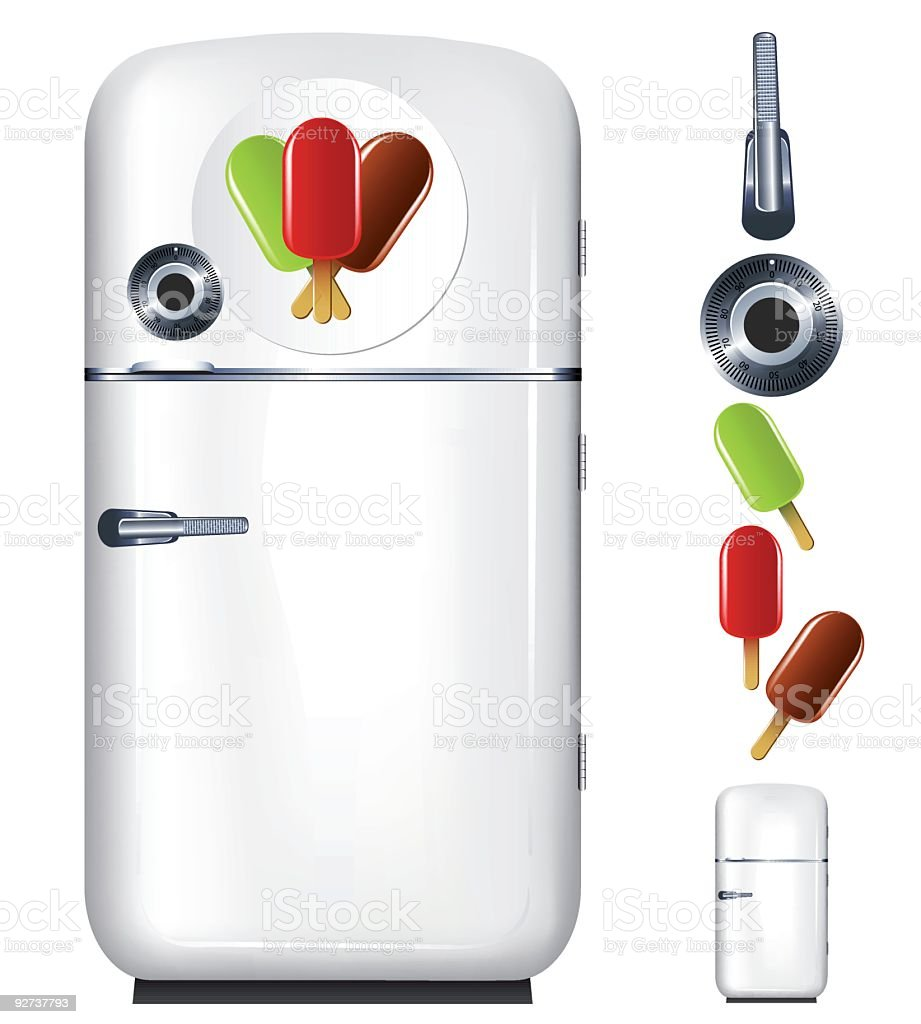 refrigerator ice cream vector art illustration