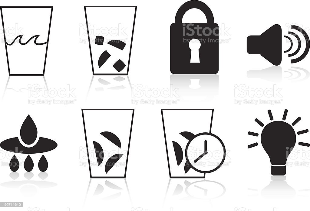 Refrigerator Icons: Black Set royalty-free stock vector art