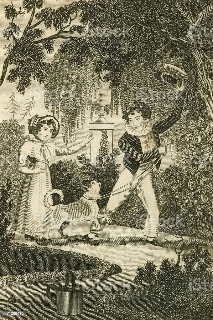 Regency boy and girl with a dog (c1830 engraving) vector art illustration