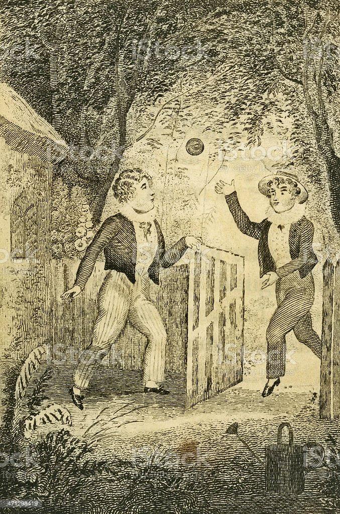 Regency boys playing ball in a garden (c1830 engraving) vector art illustration