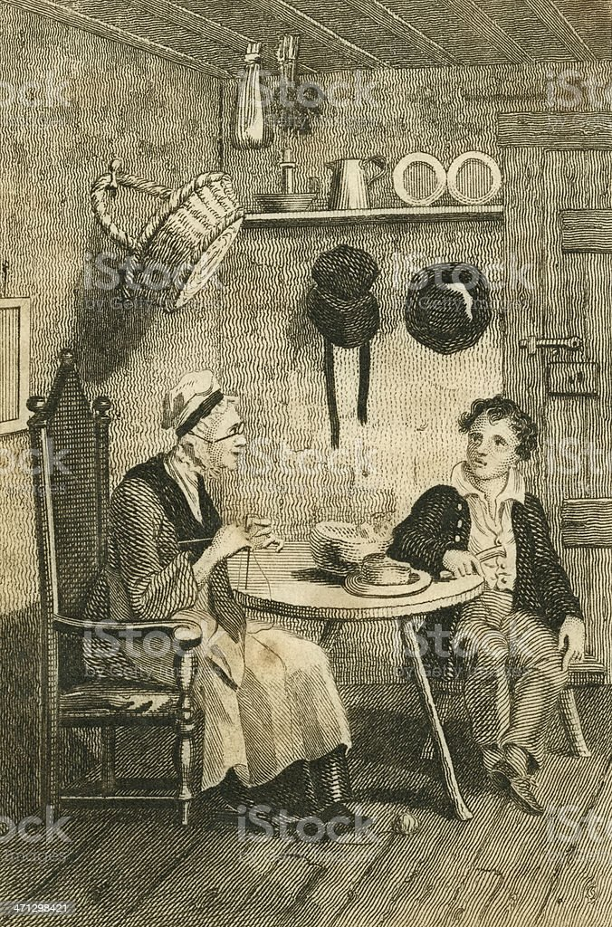 Regency era boy and old lady chatting (c1830 engraving) vector art illustration
