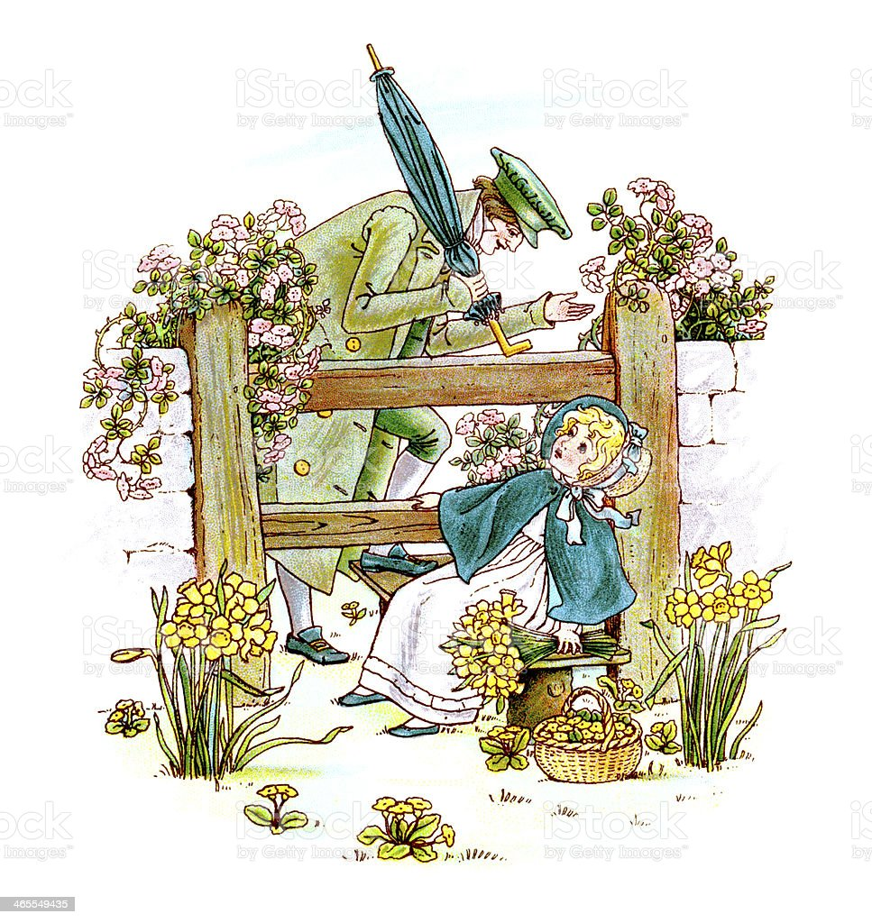 Regency era child and man with spring flowers vector art illustration