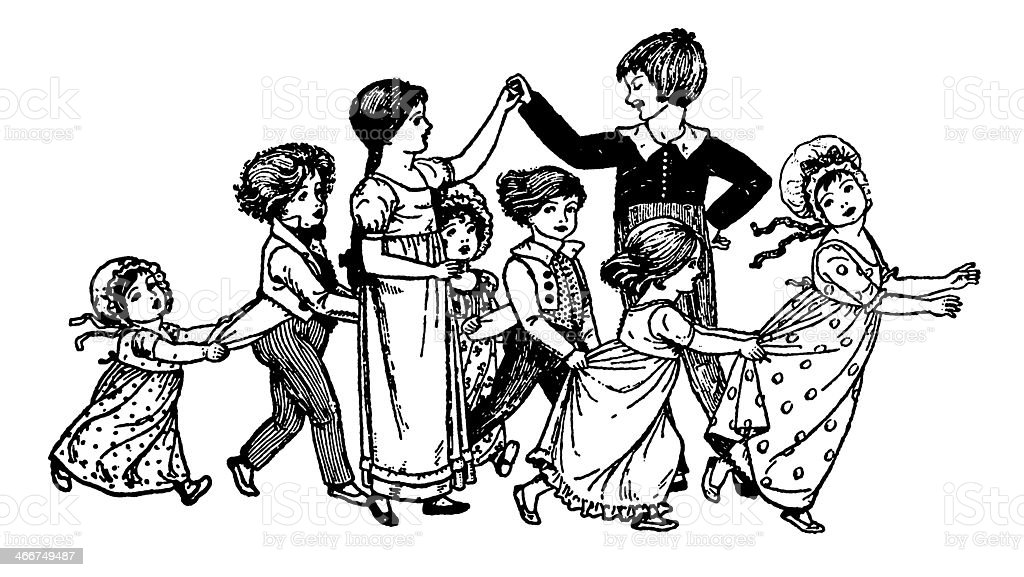 Regency era children playing or dancing vector art illustration