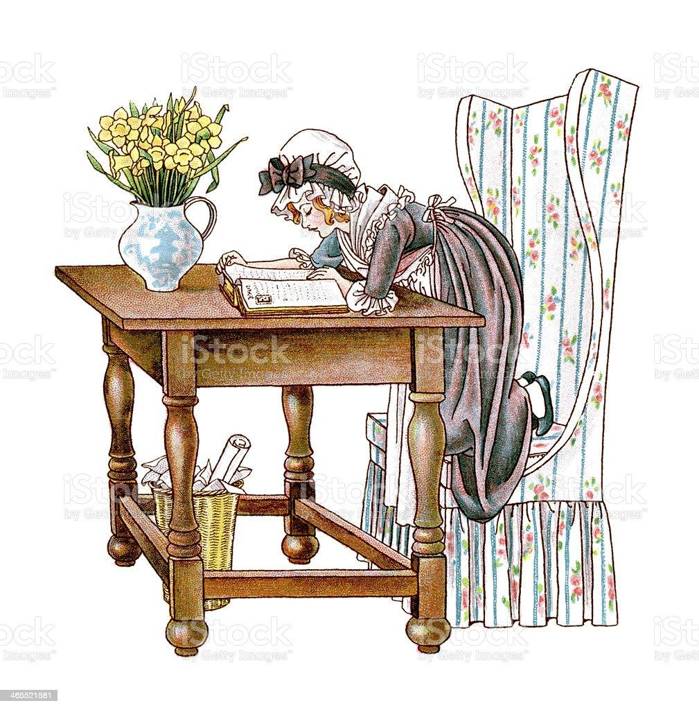 Regency era girl reading a book vector art illustration