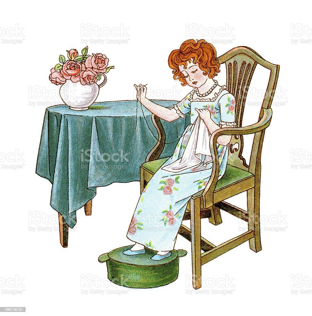 Regency era girl sewing vector art illustration