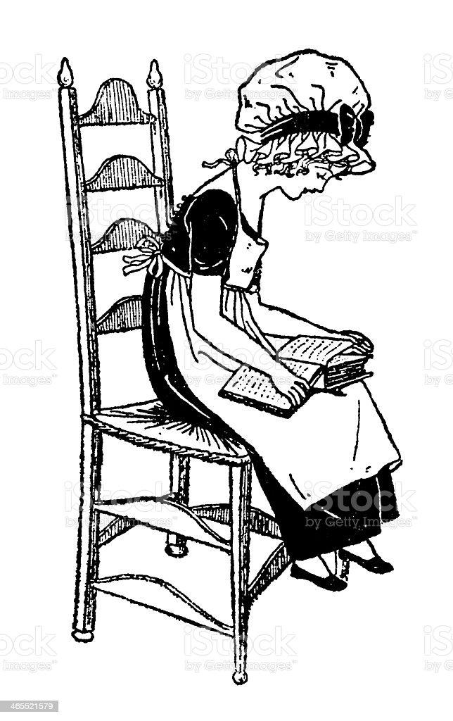Regency era girl sitting on a chair, reading vector art illustration