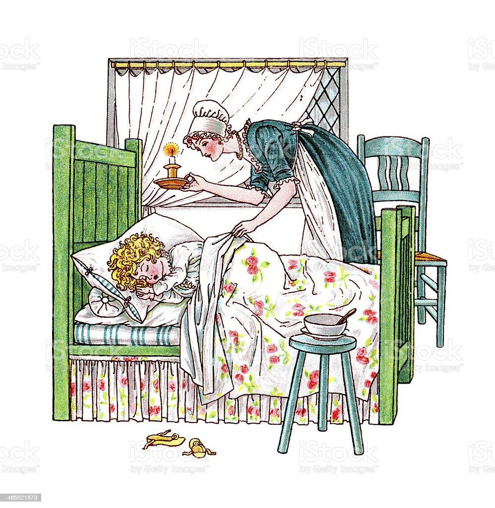 Regency era mother covering her sleeping child in bed vector art illustration