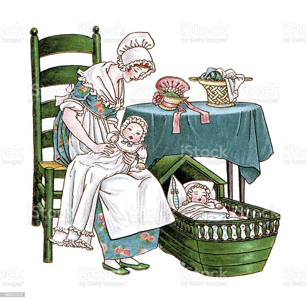 Regency era mother with two babies vector art illustration